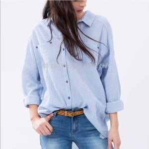 Free People Love Her Madly Puckered Shirt M